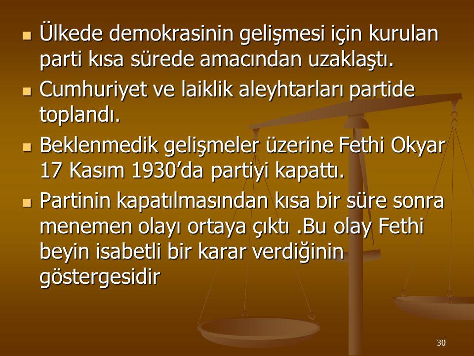 Ülkede demokrasinin gelişmesi için kurulan parti kısa sürede amacından uzaklaştı.