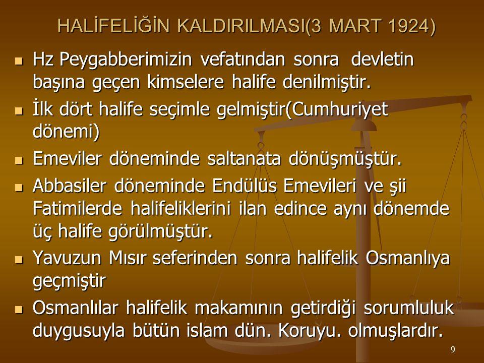 HALİFELİĞİN KALDIRILMASI(3 MART 1924)