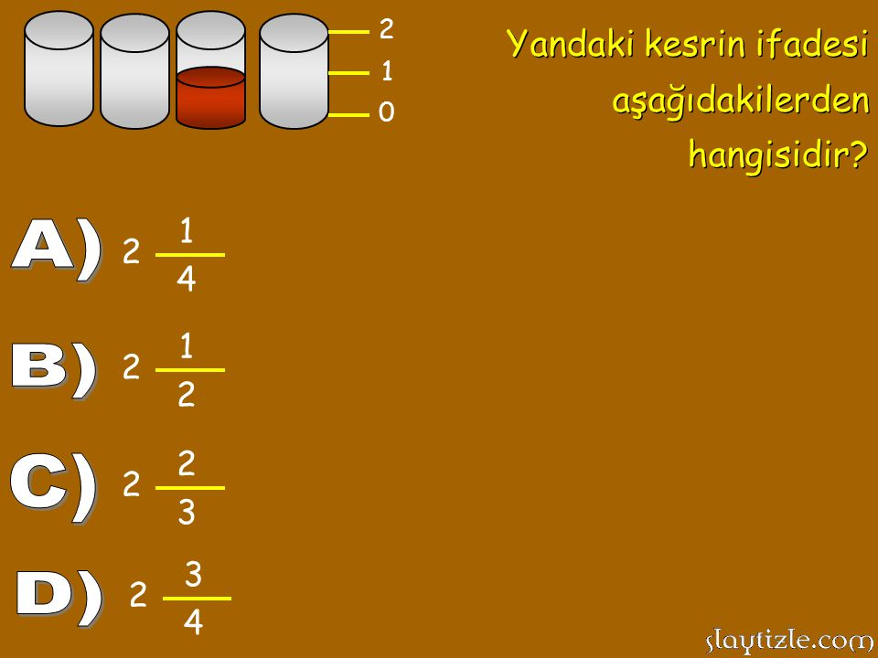 A) B) C) D) Yandaki kesrin ifadesi aşağıdakilerden hangisidir 1 2 4 1