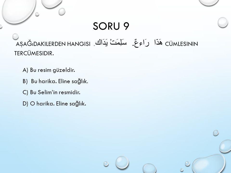 SORU 9 Aşağıdakilerden hangisi هَذَا رَاءِعٌ. سَلِمَتْ يَدَاك. Cümlesinin tercümesidir. A) Bu resim güzeldir.