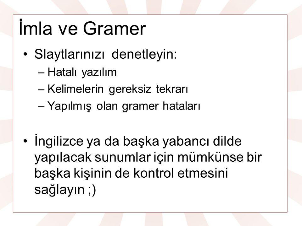 İmla ve Gramer Slaytlarınızı denetleyin: