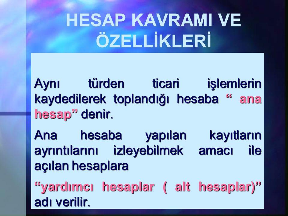 HESAP KAVRAMI VE ÖZELLİKLERİ