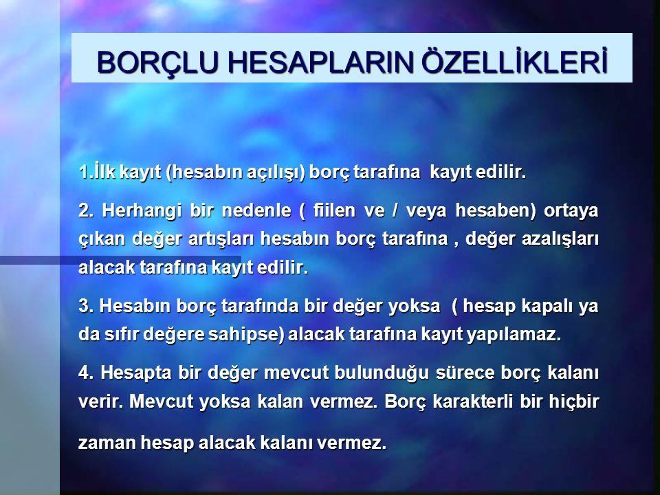 BORÇLU HESAPLARIN ÖZELLİKLERİ