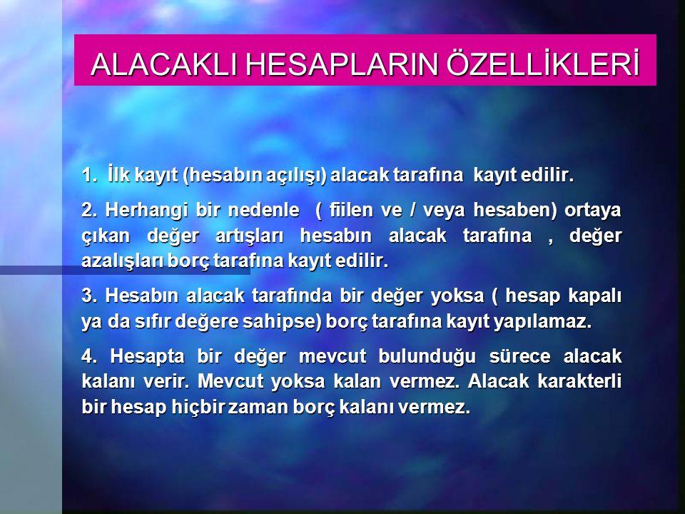 ALACAKLI HESAPLARIN ÖZELLİKLERİ