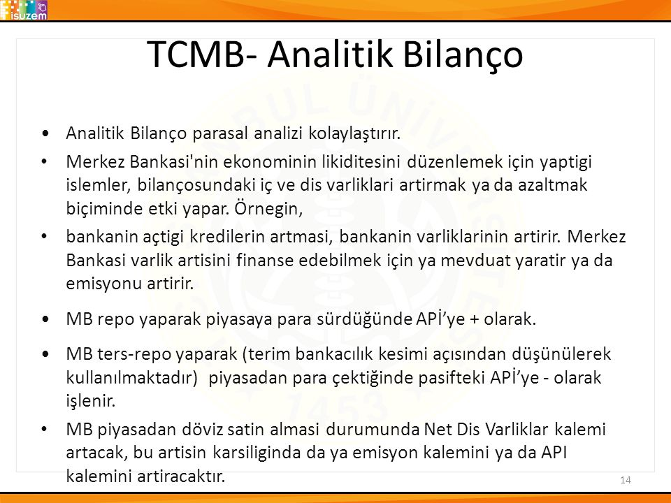 TCMB- Analitik Bilanço