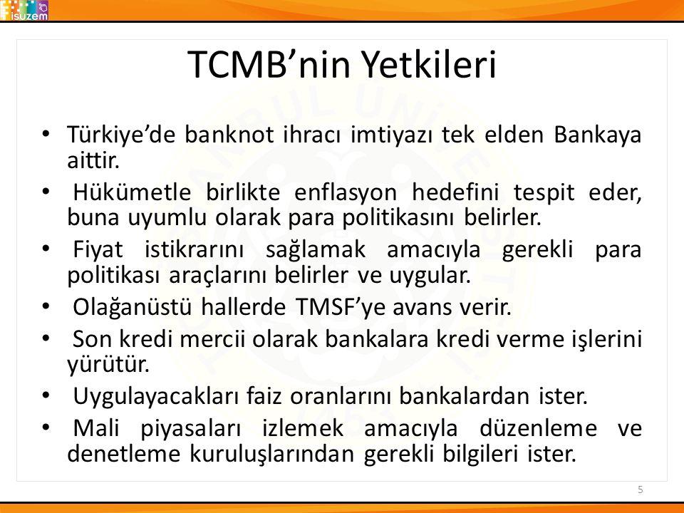 TCMB'nin Yetkileri Türkiye'de banknot ihracı imtiyazı tek elden Bankaya aittir.