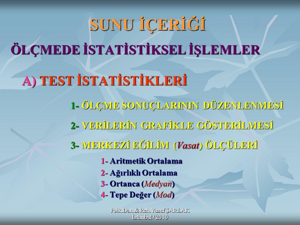 SUNU İÇERİĞİ ÖLÇMEDE İSTATİSTİKSEL İŞLEMLER A) TEST İSTATİSTİKLERİ