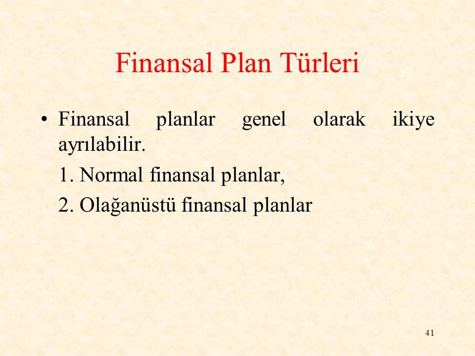 Finansal Plan Türleri Finansal planlar genel olarak ikiye ayrılabilir.