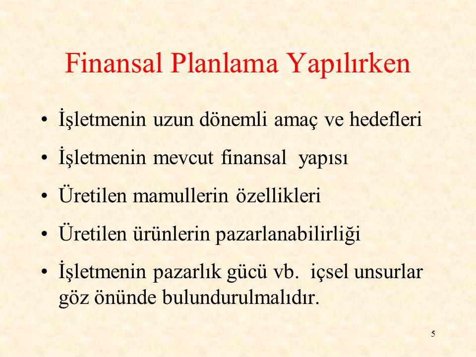 Finansal Planlama Yapılırken