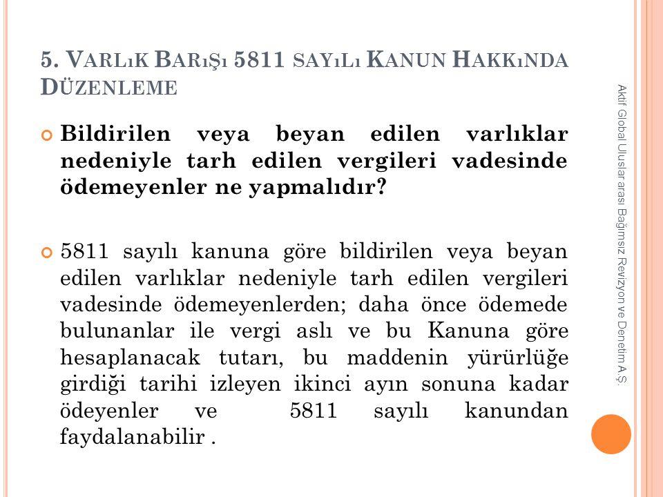 5. Varlık Barışı 5811 sayılı Kanun Hakkında Düzenleme