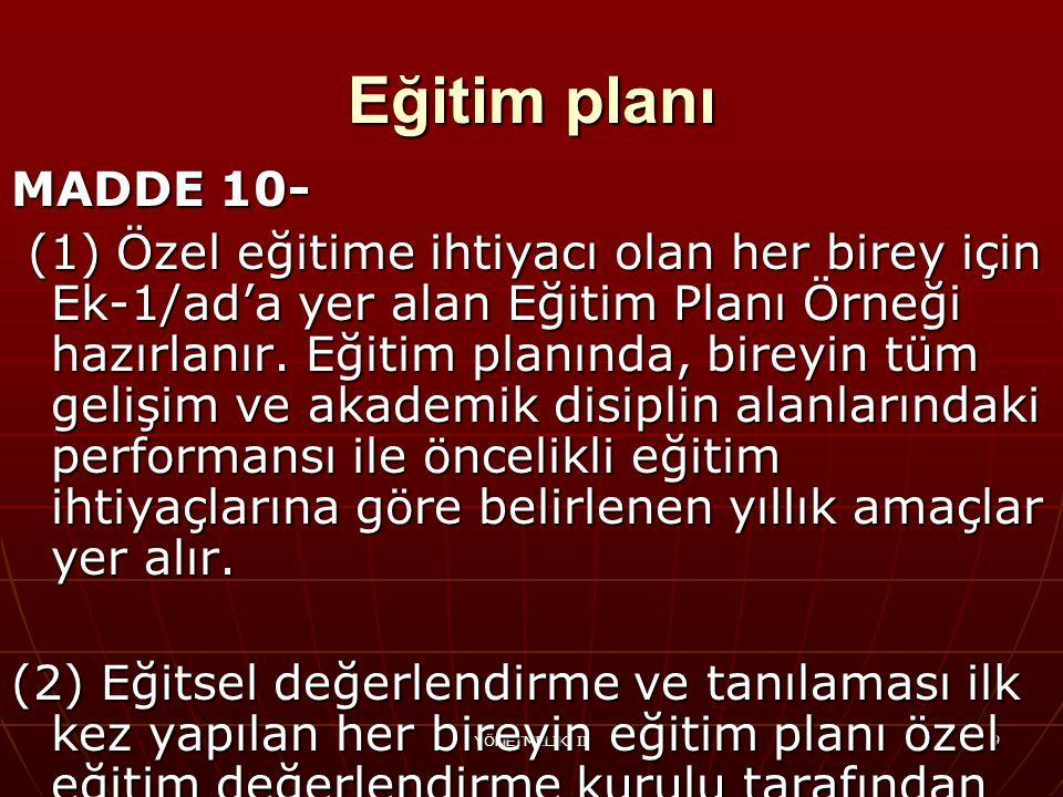Eğitim planı MADDE 10-