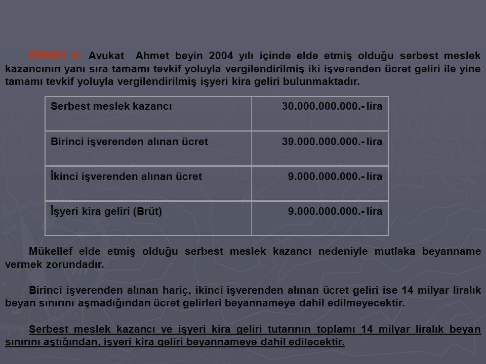Serbest meslek kazancı 30.000.000.000.- lira