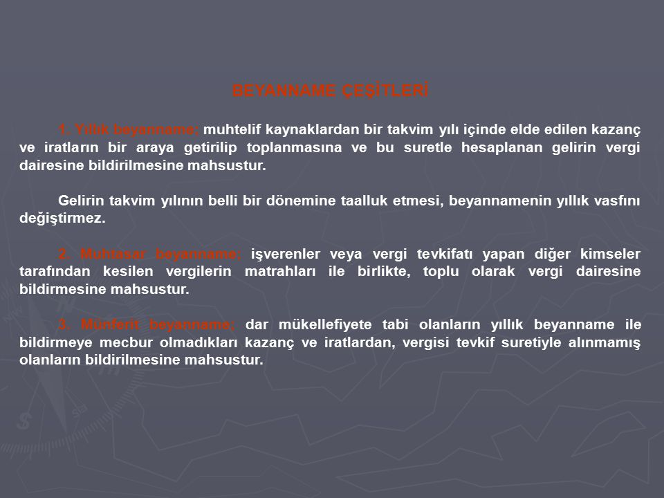 BEYANNAME ÇEŞİTLERİ