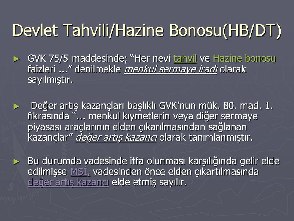 Devlet Tahvili/Hazine Bonosu(HB/DT)