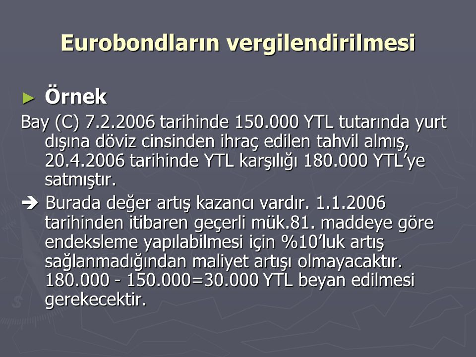 Eurobondların vergilendirilmesi