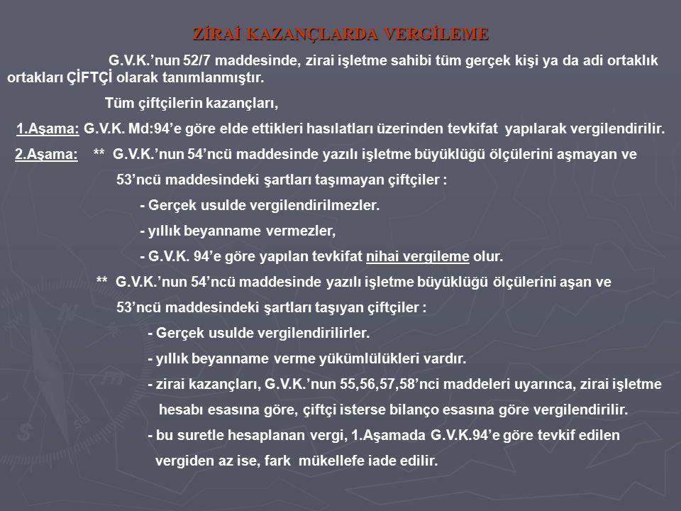 ZİRAİ KAZANÇLARDA VERGİLEME