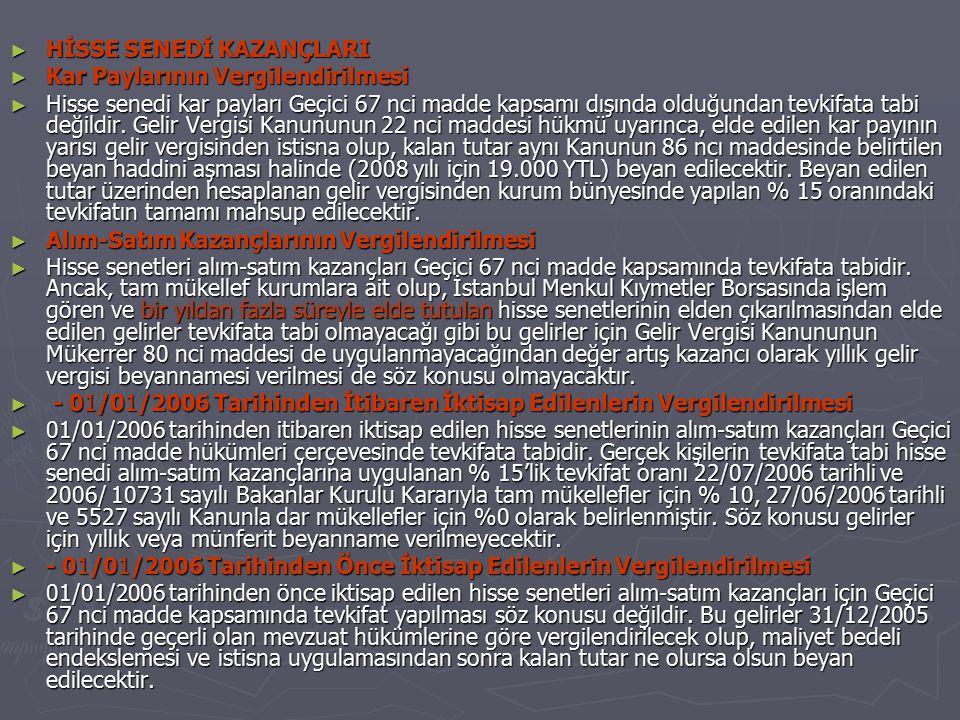 HİSSE SENEDİ KAZANÇLARI