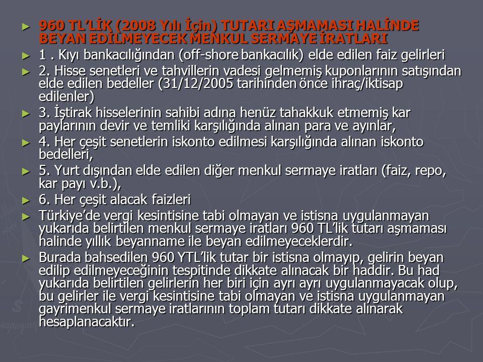 960 TL'LİK (2008 Yılı İçin) TUTARI AŞMAMASI HALİNDE BEYAN EDİLMEYECEK MENKUL SERMAYE İRATLARI