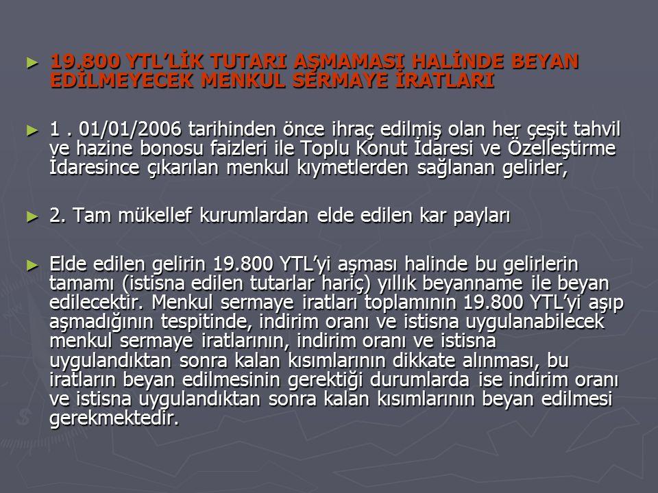 19.800 YTL'LİK TUTARI AŞMAMASI HALİNDE BEYAN EDİLMEYECEK MENKUL SERMAYE İRATLARI