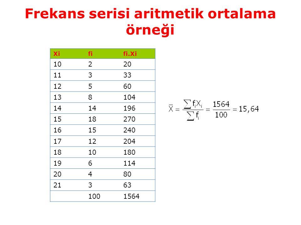 Frekans serisi aritmetik ortalama örneği