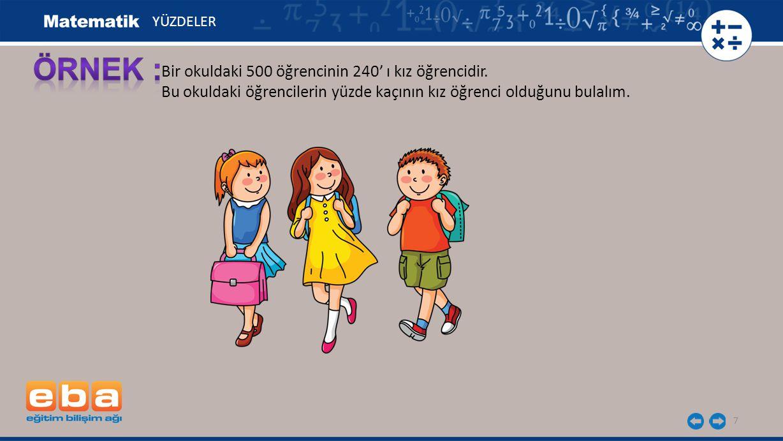 ÖRNEK : Bir okuldaki 500 öğrencinin 240' ı kız öğrencidir.