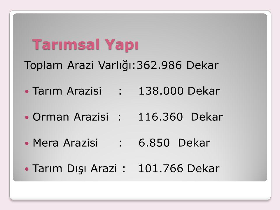 Tarımsal Yapı Toplam Arazi Varlığı:362.986 Dekar