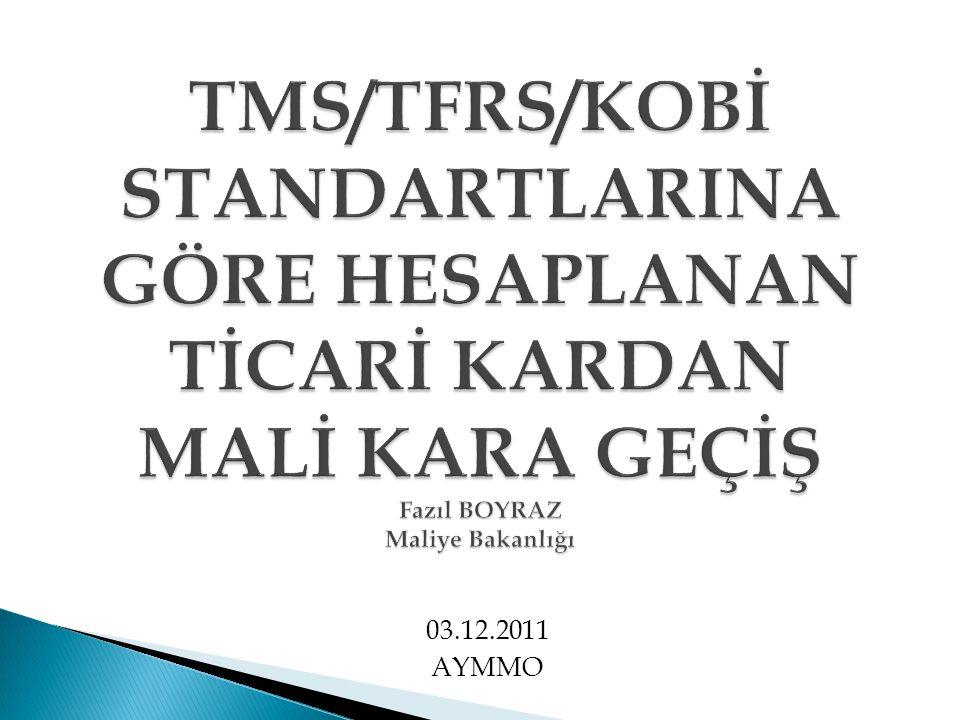 TMS/TFRS/KOBİ STANDARTLARINA GÖRE HESAPLANAN TİCARİ KARDAN MALİ KARA GEÇİŞ Fazıl BOYRAZ Maliye Bakanlığı