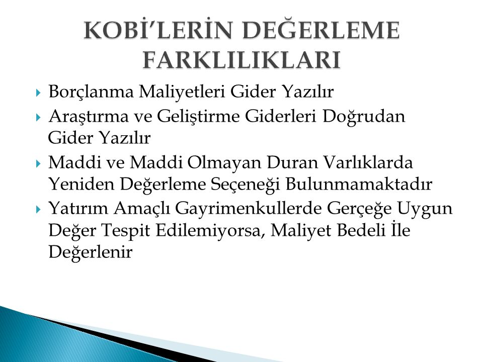 KOBİ'LERİN DEĞERLEME FARKLILIKLARI