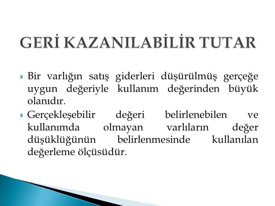 GERİ KAZANILABİLİR TUTAR