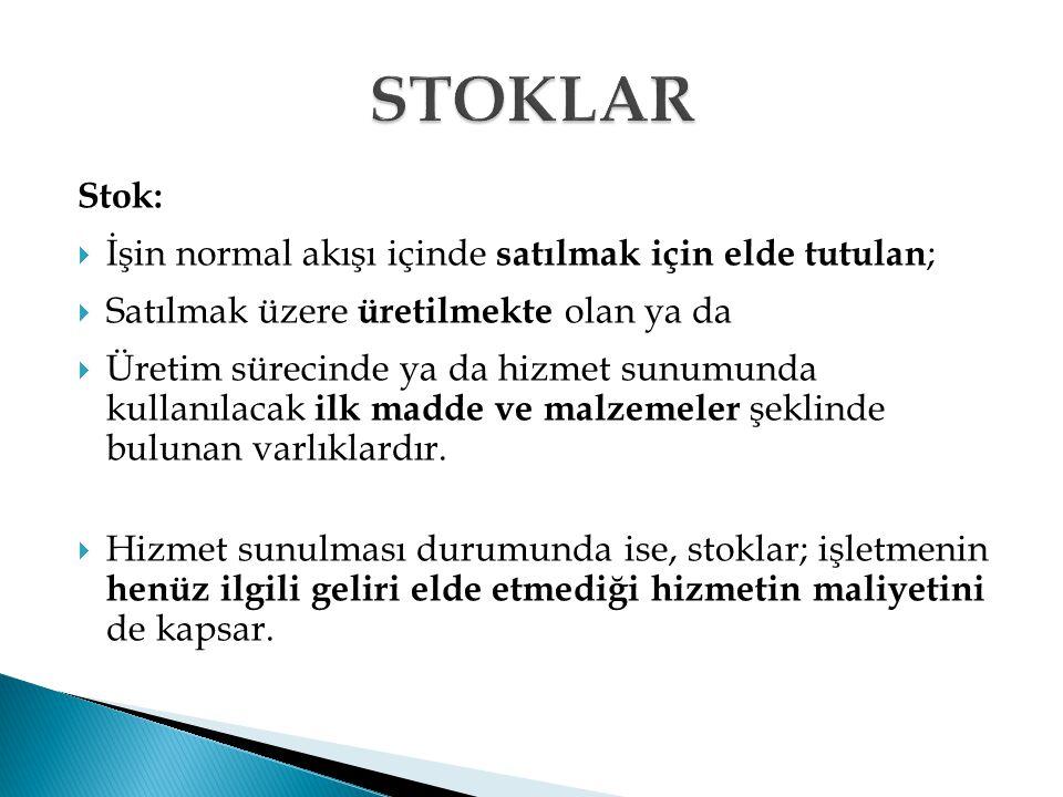 STOKLAR Stok: İşin normal akışı içinde satılmak için elde tutulan;