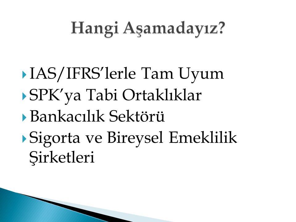 Hangi Aşamadayız IAS/IFRS'lerle Tam Uyum SPK'ya Tabi Ortaklıklar