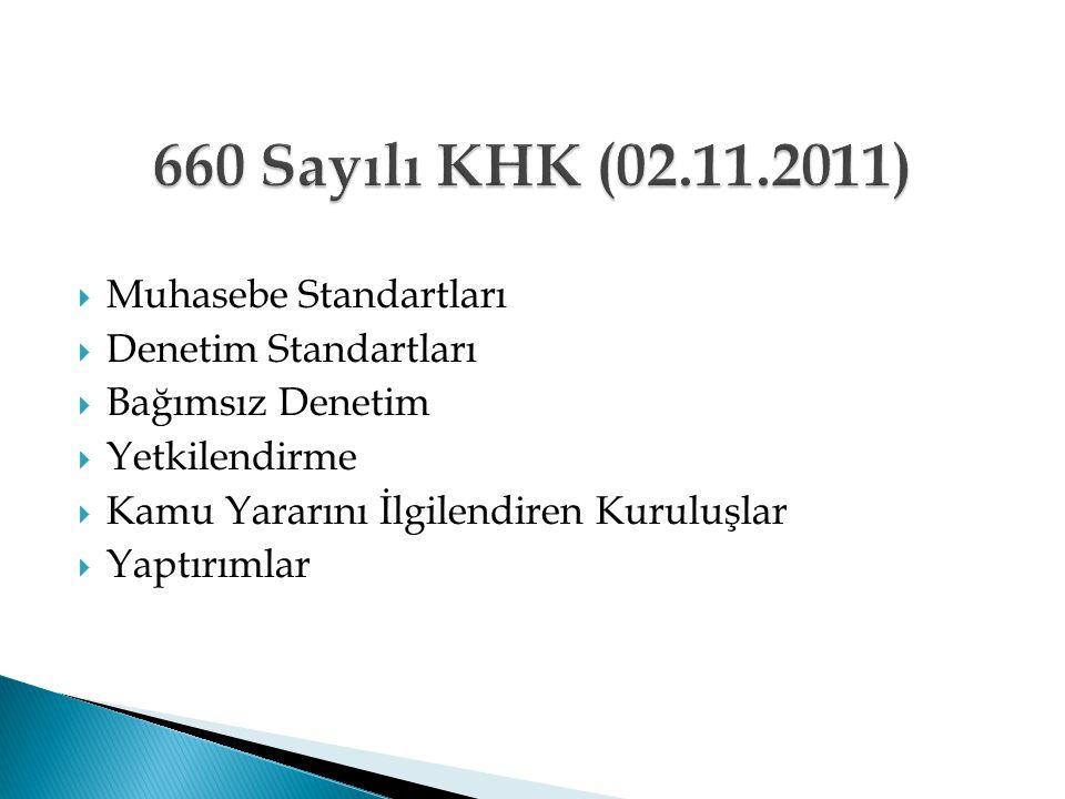 660 Sayılı KHK (02.11.2011) Muhasebe Standartları Denetim Standartları