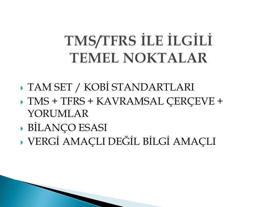 TMS/TFRS İLE İLGİLİ TEMEL NOKTALAR