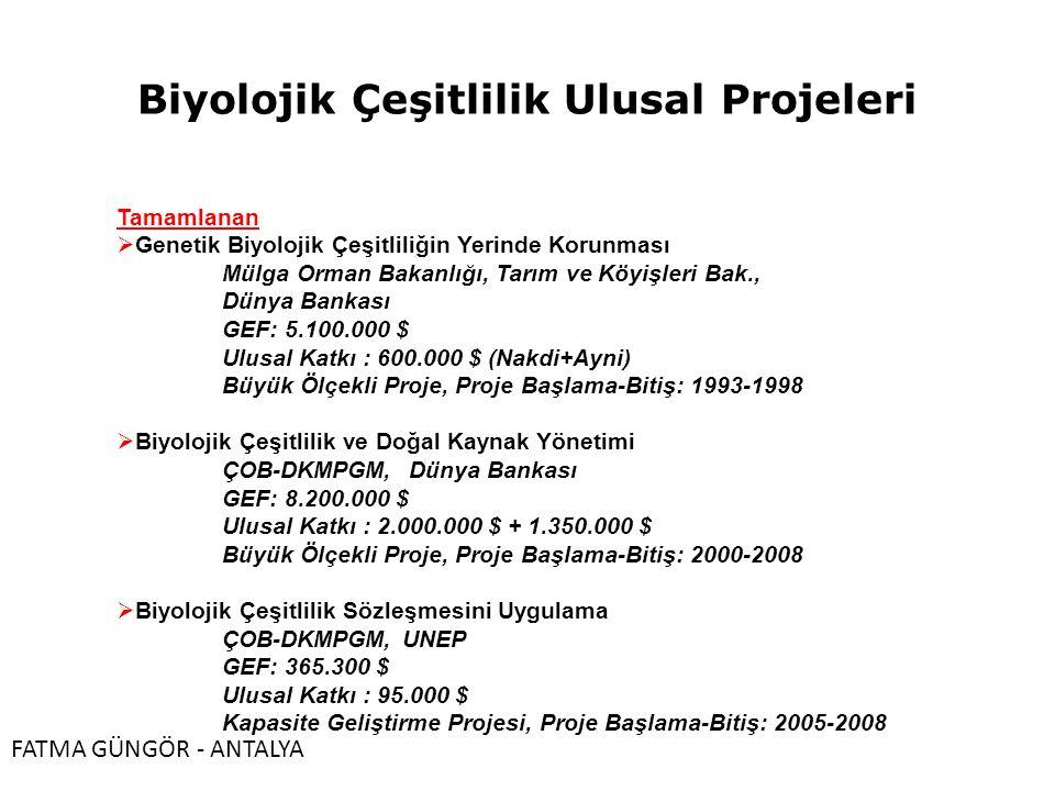 Biyolojik Çeşitlilik Ulusal Projeleri