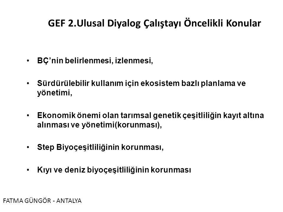 GEF 2.Ulusal Diyalog Çalıştayı Öncelikli Konular