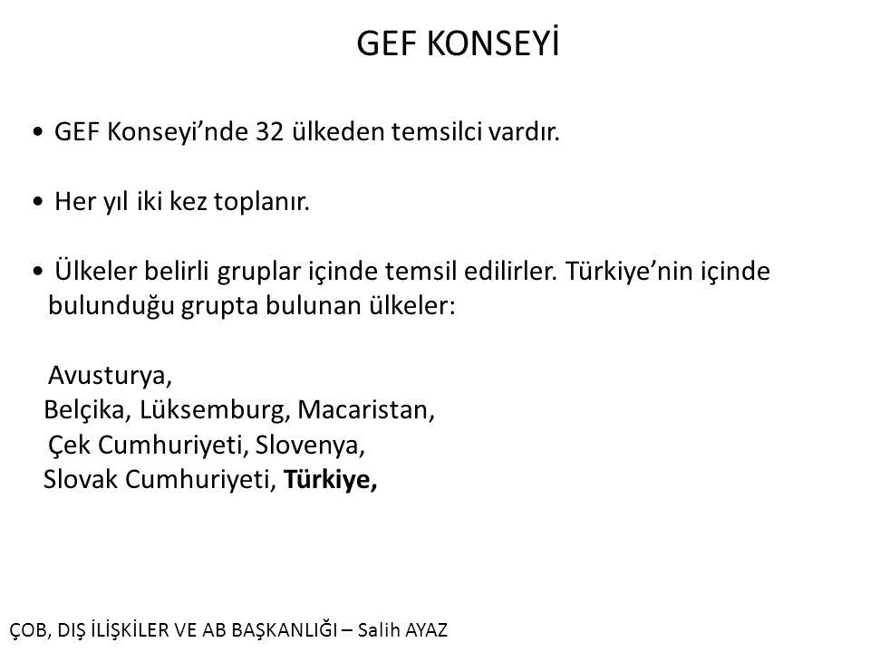 GEF KONSEYİ GEF Konseyi'nde 32 ülkeden temsilci vardır.