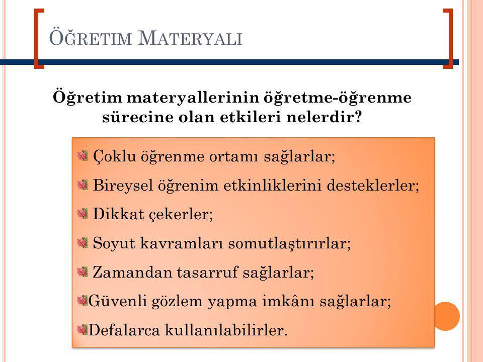 Öğretim Materyali Öğretim materyallerinin öğretme-öğrenme sürecine olan etkileri nelerdir Çoklu öğrenme ortamı sağlarlar;