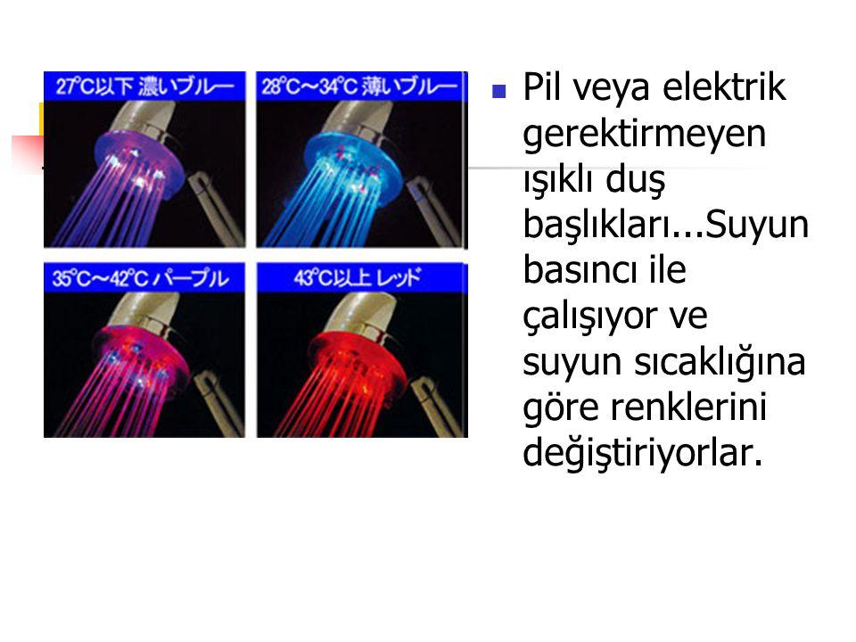 Pil veya elektrik gerektirmeyen ışıklı duş başlıkları