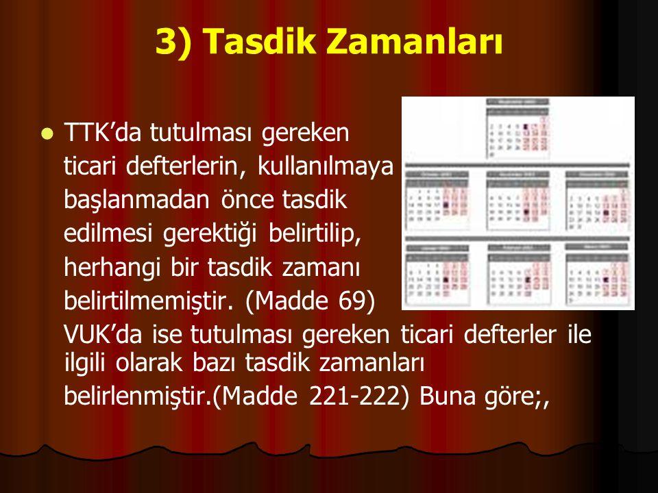 3) Tasdik Zamanları TTK'da tutulması gereken