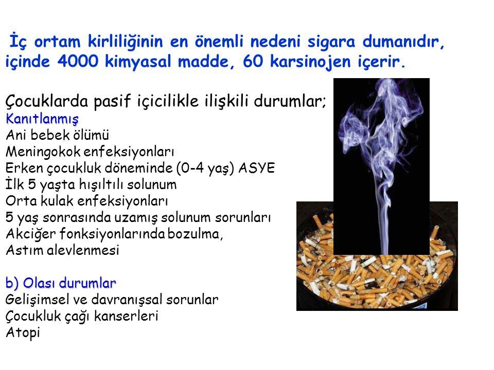 İç ortam kirliliğinin en önemli nedeni sigara dumanıdır,