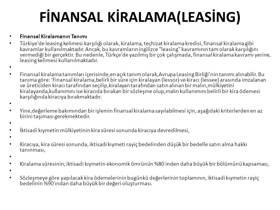 FİNANSAL KİRALAMA(LEASİNG)