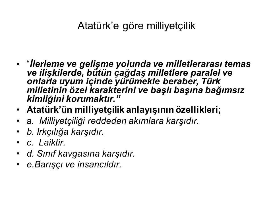 Atatürk'e göre milliyetçilik