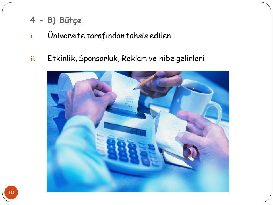 4 - B) Bütçe Üniversite tarafından tahsis edilen