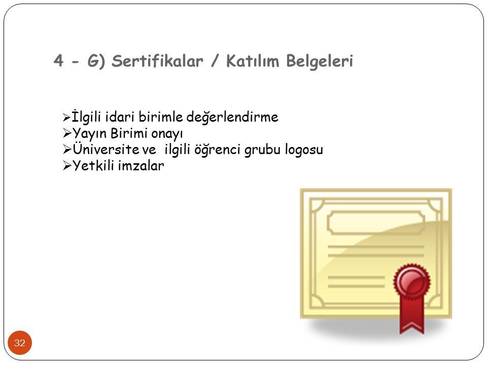 4 - G) Sertifikalar / Katılım Belgeleri