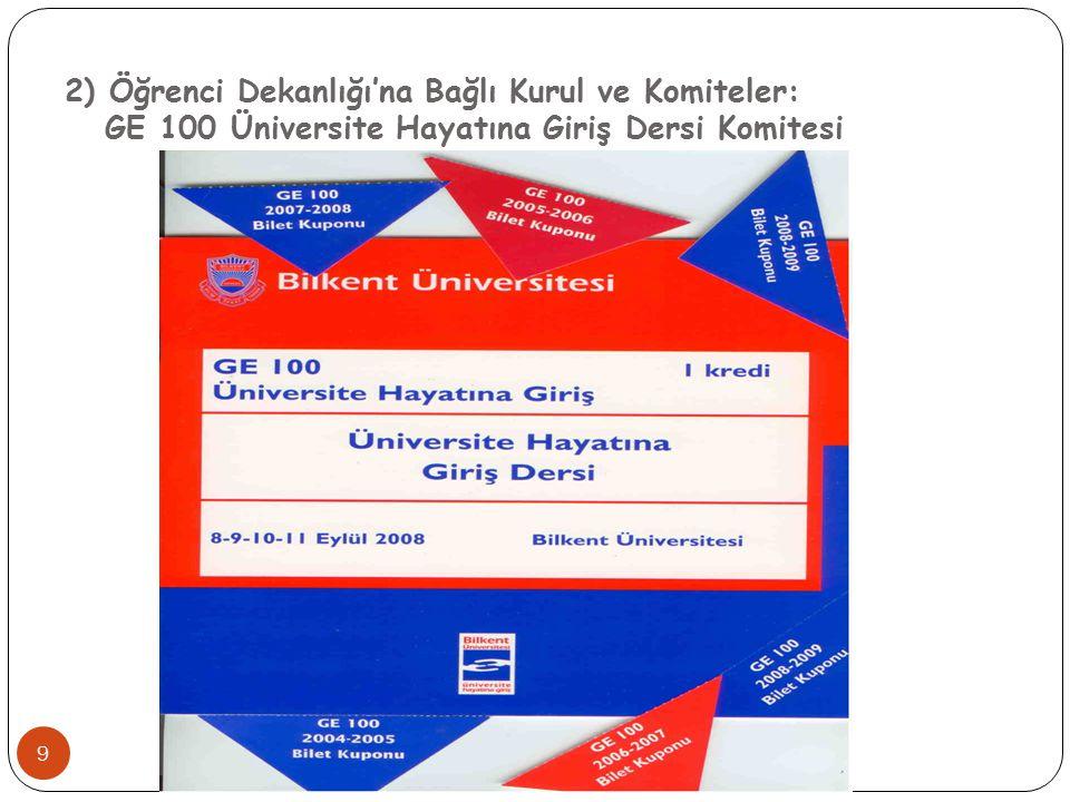 2) Öğrenci Dekanlığı'na Bağlı Kurul ve Komiteler: GE 100 Üniversite Hayatına Giriş Dersi Komitesi