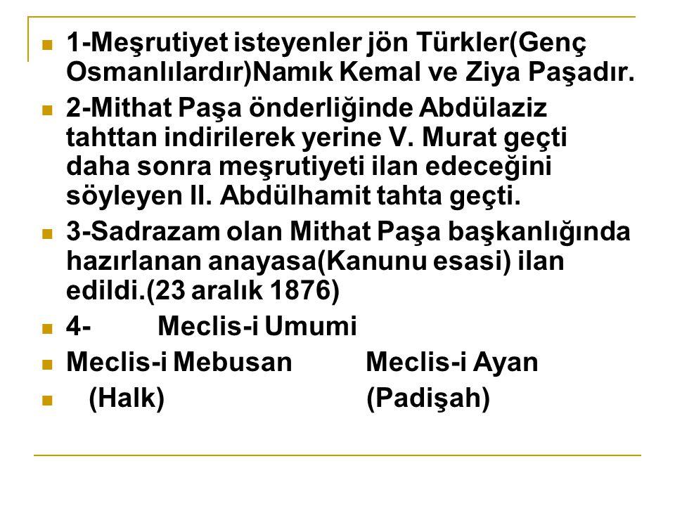 1-Meşrutiyet isteyenler jön Türkler(Genç Osmanlılardır)Namık Kemal ve Ziya Paşadır.