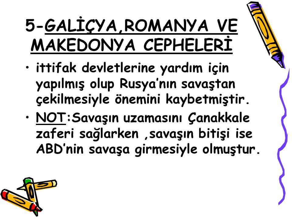5-GALİÇYA,ROMANYA VE MAKEDONYA CEPHELERİ