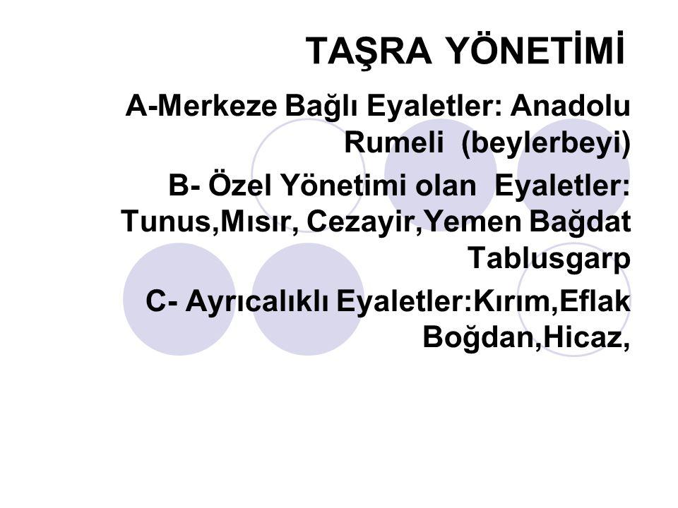TAŞRA YÖNETİMİ A-Merkeze Bağlı Eyaletler: Anadolu Rumeli (beylerbeyi)