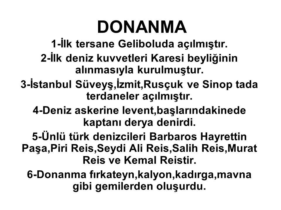DONANMA 1-İlk tersane Geliboluda açılmıştır.