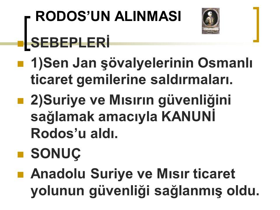 RODOS'UN ALINMASI SEBEPLERİ. 1)Sen Jan şövalyelerinin Osmanlı ticaret gemilerine saldırmaları.